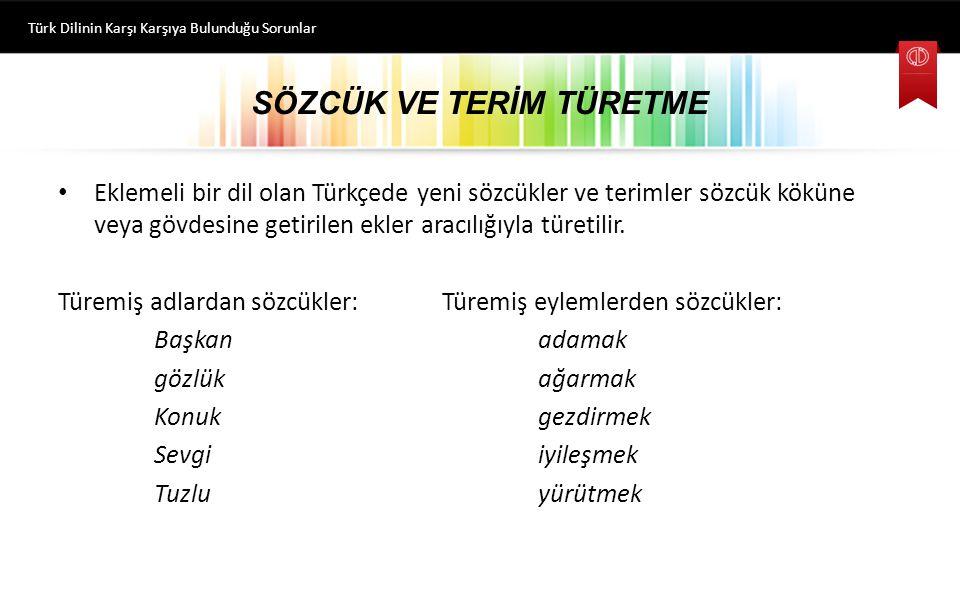 SÖZCÜK VE TERİM TÜRETME Eklemeli bir dil olan Türkçede yeni sözcükler ve terimler sözcük köküne veya gövdesine getirilen ekler aracılığıyla türetilir.