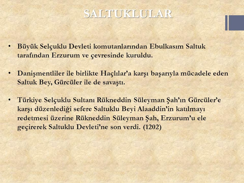 SALTUKLULAR Büyük Selçuklu Devleti komutanlarından Ebulkasım Saltuk tarafından Erzurum ve çevresinde kuruldu. Danişmentliler ile birlikte Haçlılar'a k