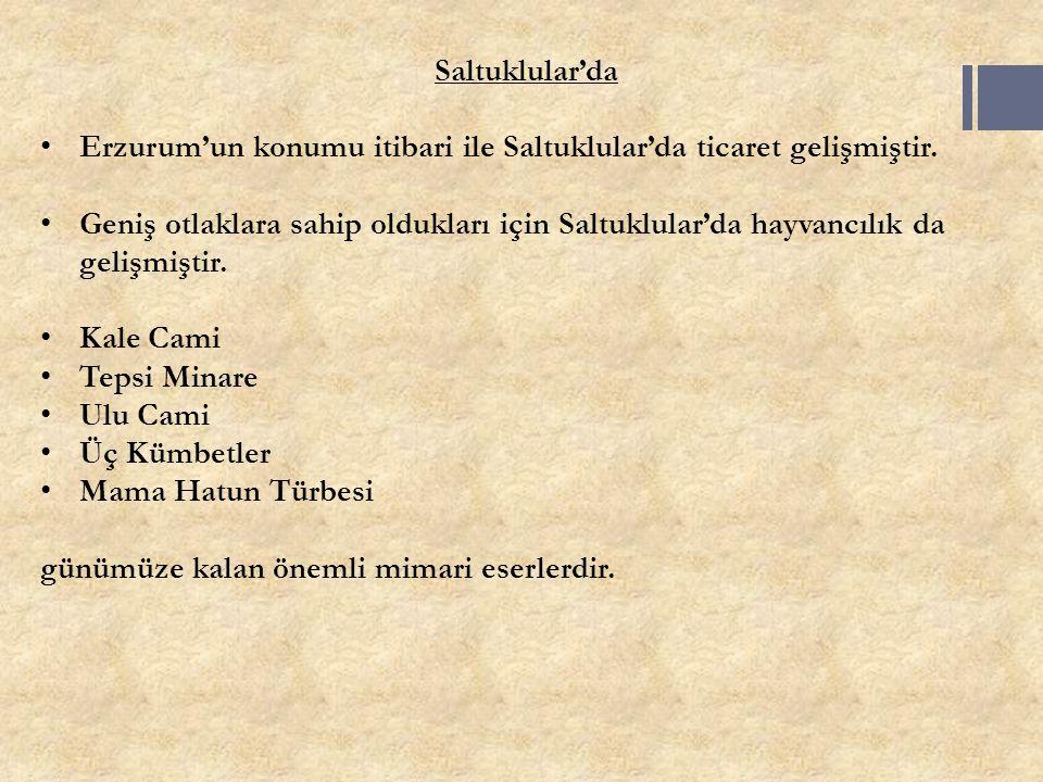 Saltuklular'da Erzurum'un konumu itibari ile Saltuklular'da ticaret gelişmiştir. Geniş otlaklara sahip oldukları için Saltuklular'da hayvancılık da ge