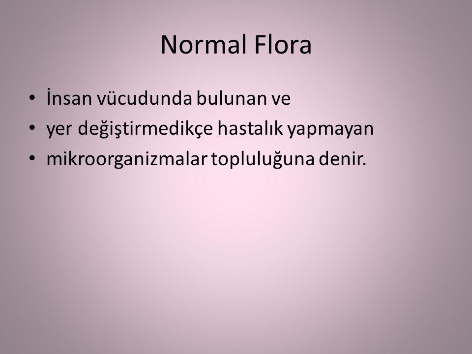 Normal Flora İnsan vücudunda bulunan ve yer değiştirmedikçe hastalık yapmayan mikroorganizmalar topluluğuna denir.
