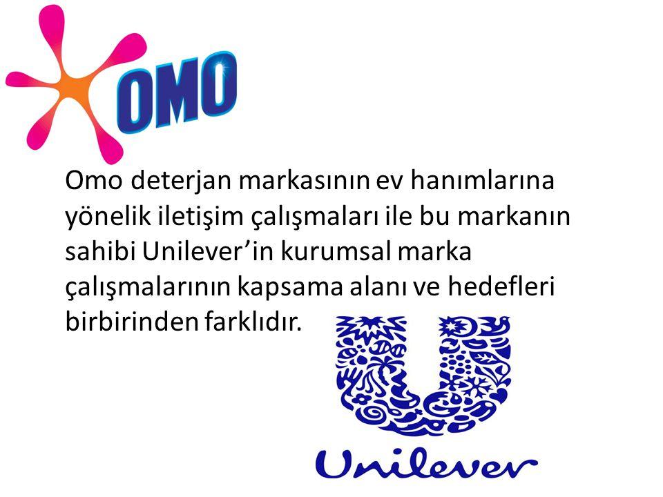 Omo deterjan markasının ev hanımlarına yönelik iletişim çalışmaları ile bu markanın sahibi Unilever'in kurumsal marka çalışmalarının kapsama alanı ve hedefleri birbirinden farklıdır.