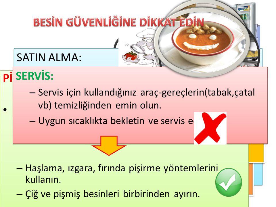 Depolama Hazırlama Pişirme Servis Satın alma SATIN ALMA: – Doğal ve taze besinleri tercih edin. – Ambalaj kontolü yapın ve etiket okuyun. – Açıkta sat