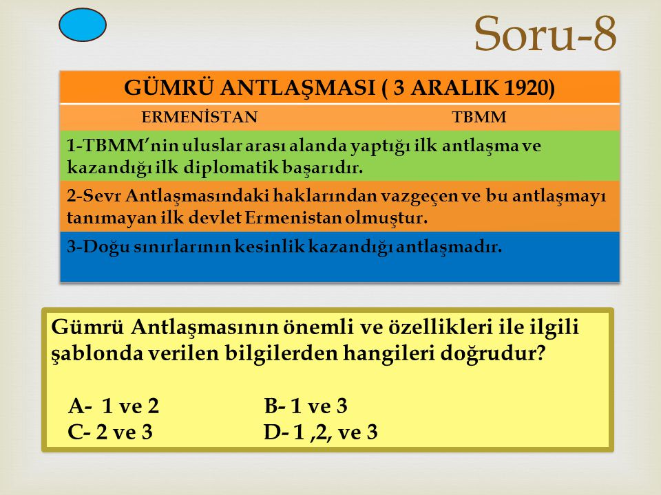 Soru-8 Gümrü Antlaşmasının önemli ve özellikleri ile ilgili şablonda verilen bilgilerden hangileri doğrudur? A- 1 ve 2 B- 1 ve 3 C- 2 ve 3 D- 1,2, v
