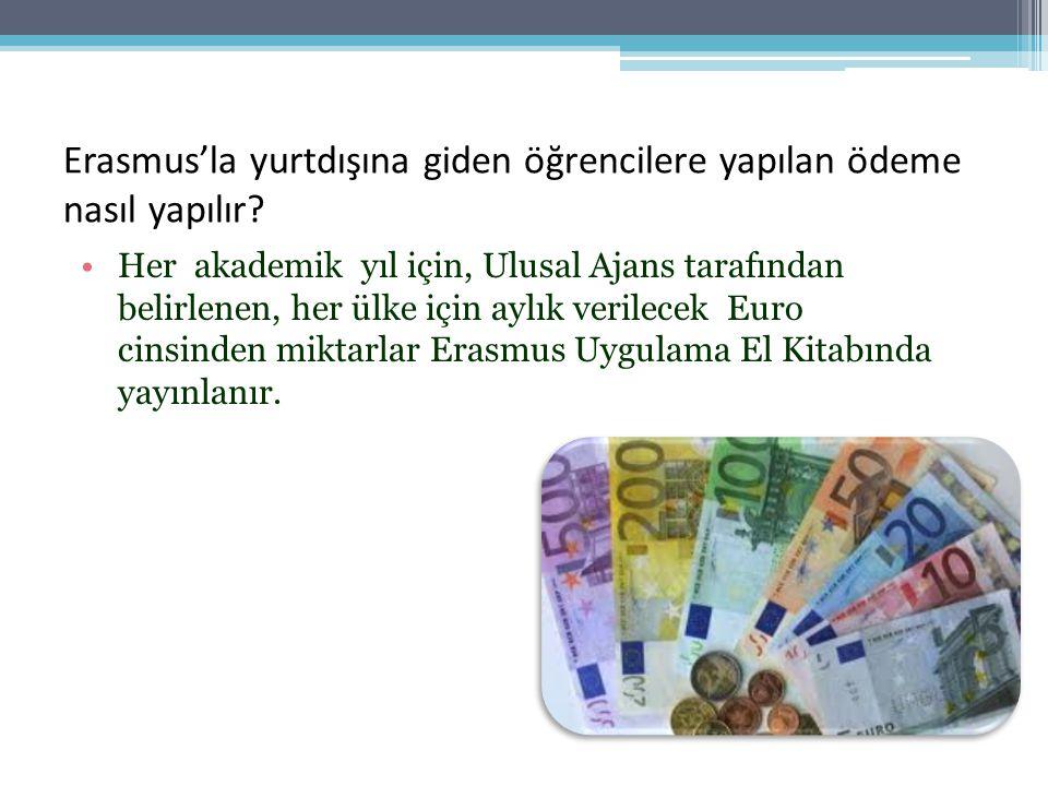 Erasmus'la yurtdışına giden öğrencilere yapılan ödeme nasıl yapılır.