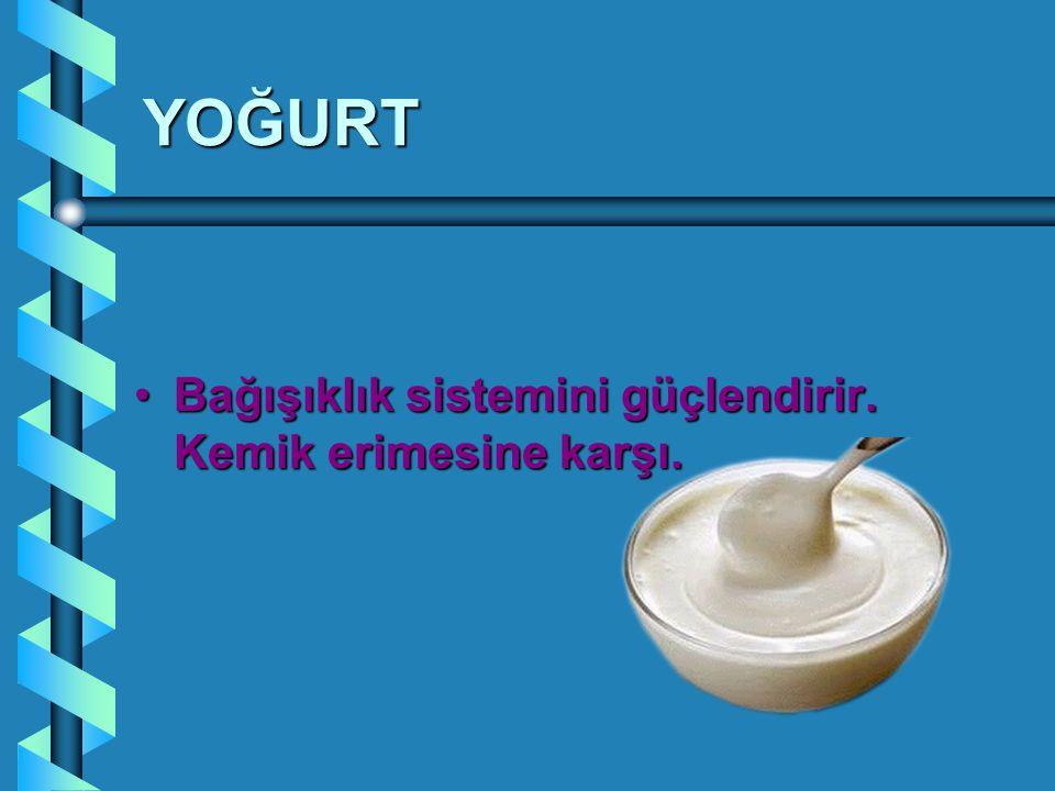 YOĞURT Bağışıklık sistemini güçlendirir.Kemik erimesine karşı.Bağışıklık sistemini güçlendirir.