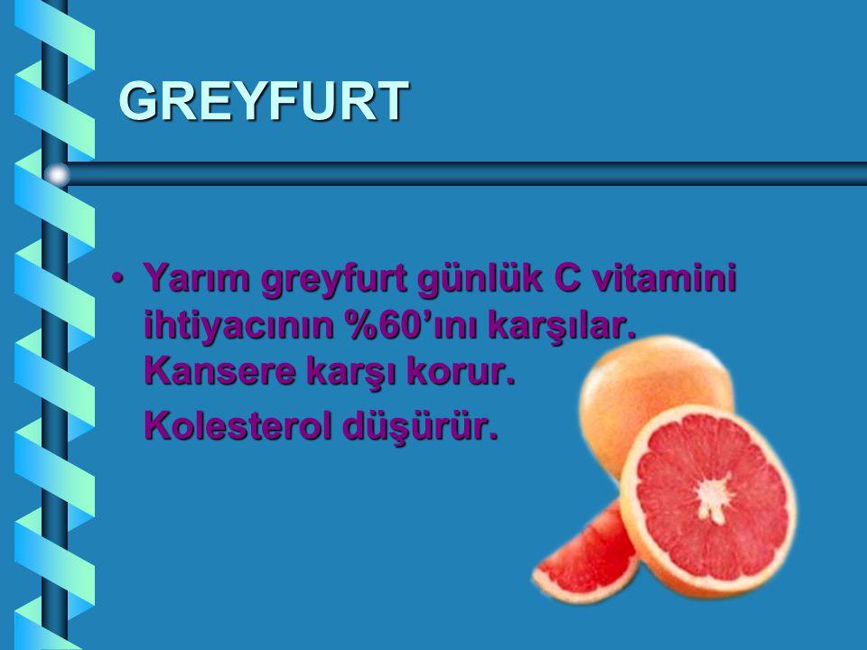GREYFURT Yarım greyfurt günlük C vitamini ihtiyacının %60'ını karşılar. Kansere karşı korur.Yarım greyfurt günlük C vitamini ihtiyacının %60'ını karşı
