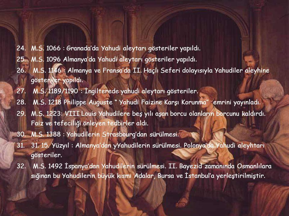 15.M.S. 19 İtalya'da Yahudilere karşı tedbirler alınmaya başlandı. 16.M.S. 40 İskenderiye de Yahudi aleyhtarı gösteriler başladı. 17.M.S. 59 : Ciceron