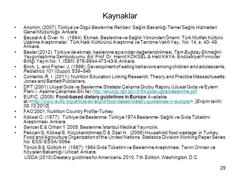 29 Kaynaklar Anonim, (2007).Türkiye'ye Özgü Beslenme Rehberi. Sağlık Bakanlığı Temel Sağlık Hizmetleri Genel Müdürlüğü. Ankara. Baysal A & Över N. (19