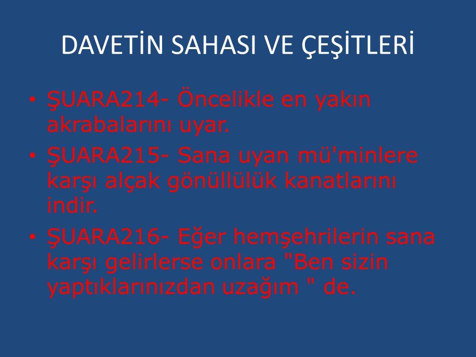 DAVETİN SAHASI VE ÇEŞİTLERİ ŞUARA214- Öncelikle en yakın akrabalarını uyar. ŞUARA215- Sana uyan mü'minlere karşı alçak gönüllülük kanatlarını indir. Ş