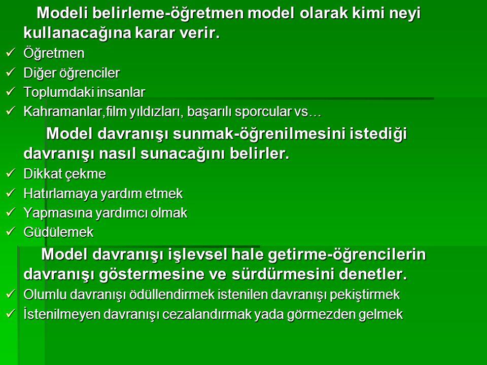 Modeli belirleme-öğretmen model olarak kimi neyi kullanacağına karar verir. Modeli belirleme-öğretmen model olarak kimi neyi kullanacağına karar verir