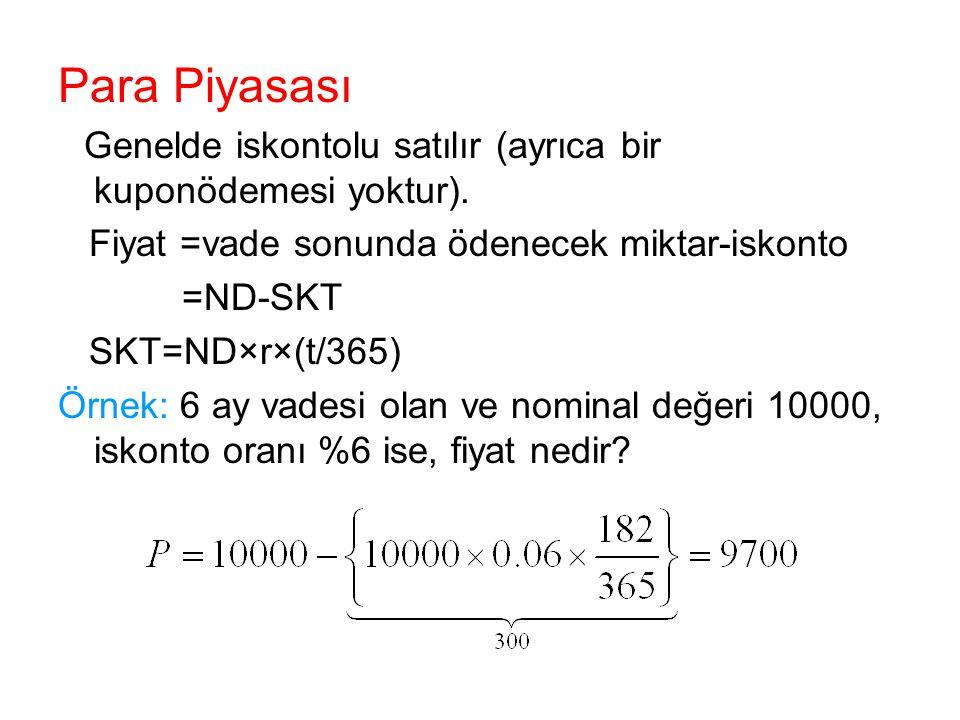 Para Piyasası Genelde iskontolu satılır (ayrıca bir kuponödemesi yoktur). Fiyat =vade sonunda ödenecek miktar-iskonto =ND-SKT SKT=ND×r×(t/365) Örnek: