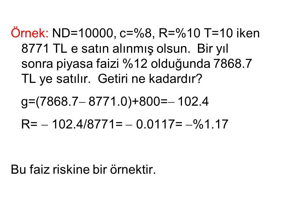 Örnek: ND=10000, c=%8, R=%10 T=10 iken 8771 TL e satın alınmış olsun. Bir yıl sonra piyasa faizi %12 olduğunda 7868.7 TL ye satılır. Getiri ne kadardı