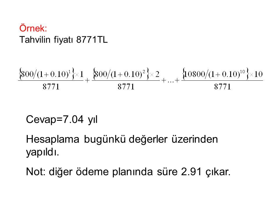 Örnek: Tahvilin fiyatı 8771TL Cevap=7.04 yıl Hesaplama bugünkü değerler üzerinden yapıldı. Not: diğer ödeme planında süre 2.91 çıkar.