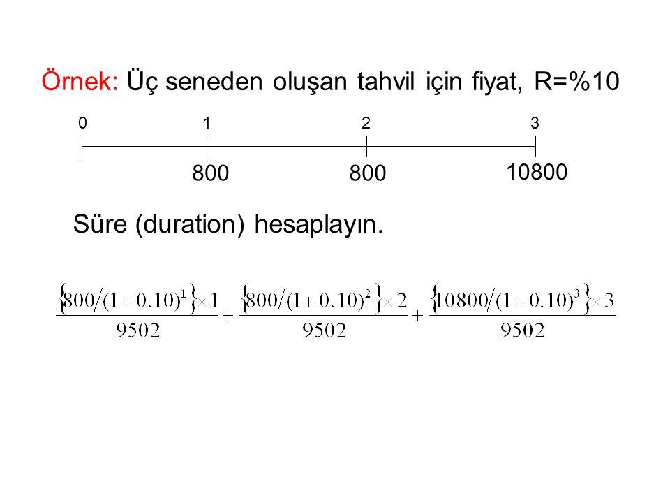Örnek: Üç seneden oluşan tahvil için fiyat, R=%10 0123 800 10800 Süre (duration) hesaplayın.