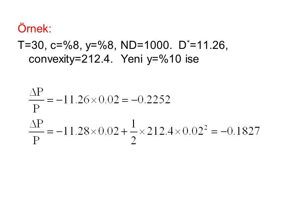 Örnek: T=30, c=%8, y=%8, ND=1000. D * =11.26, convexity=212.4. Yeni y=%10 ise