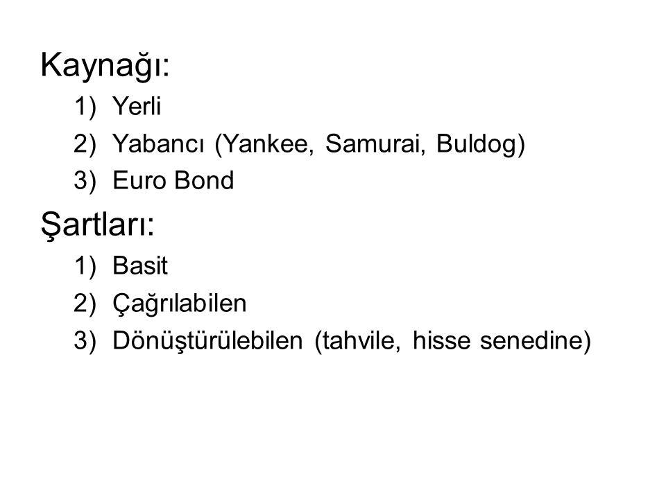 Kaynağı: 1)Yerli 2)Yabancı (Yankee, Samurai, Buldog) 3)Euro Bond Şartları: 1)Basit 2)Çağrılabilen 3)Dönüştürülebilen (tahvile, hisse senedine)