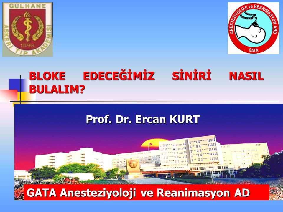 BLOKE EDECEĞİMİZ SİNİRİ NASIL BULALIM? Prof. Dr. Ercan KURT GATA Anesteziyoloji ve Reanimasyon AD