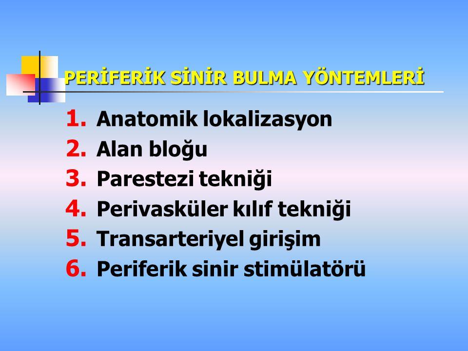 PERİFERİK SİNİR BULMA YÖNTEMLERİ 1. Periferik sinir stimülatörü (PSS) 2. Ultrasonografi (US) 3. Magnetik rezonans görüntüleme (MRG) 4. Percutaneous el