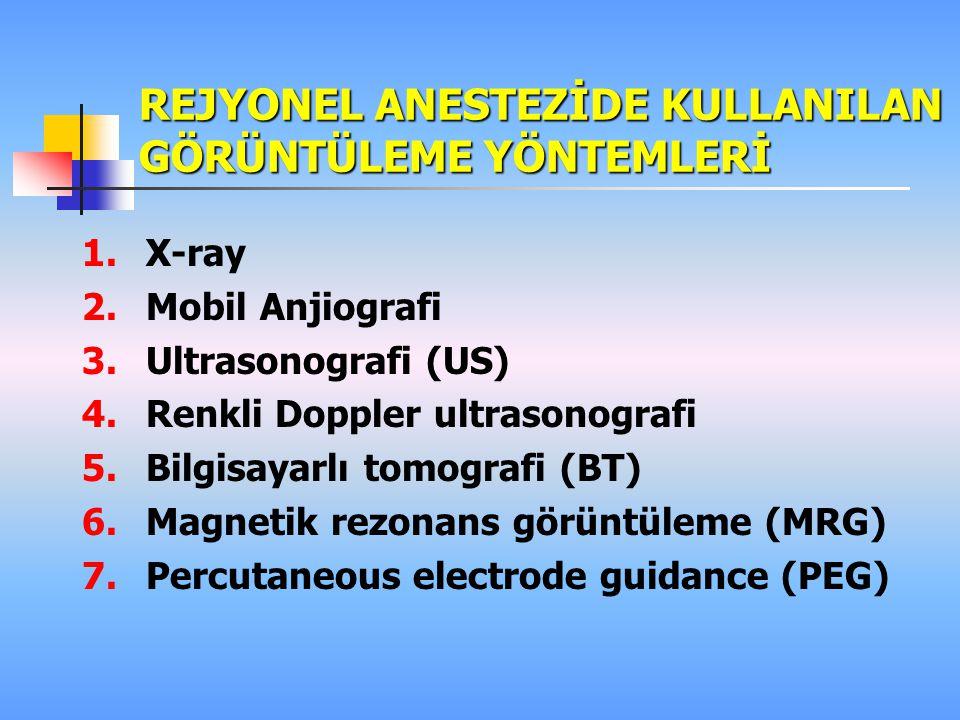 REJYONEL ANESTEZİDE KULLANILAN GÖRÜNTÜLEME YÖNTEMLERİ 1.X-ray 2.Mobil Anjiografi 3.Ultrasonografi (US) 4.Renkli Doppler ultrasonografi 5.Bilgisayarlı tomografi (BT) 6.Magnetik rezonans görüntüleme (MRG) 7.Percutaneous electrode guidance (PEG)