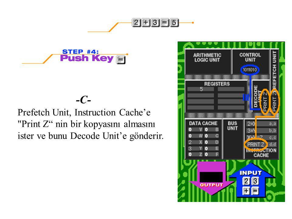 -C- Prefetch Unit, Instruction Cache'e Print Z nin bir kopyasını almasını ister ve bunu Decode Unit'e gönderir.
