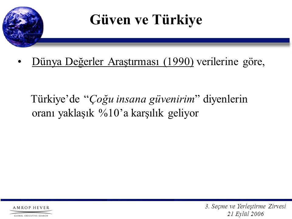 """3. Seçme ve Yerleştirme Zirvesi 21 Eylül 2006 Güven ve Türkiye Dünya Değerler Araştırması (1990) verilerine göre, Türkiye'de """"Çoğu insana güvenirim"""" d"""
