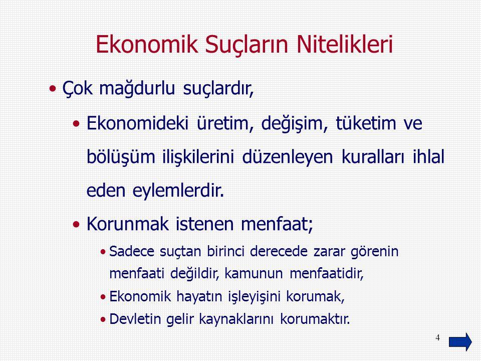 4 Ekonomik Suçların Nitelikleri Çok mağdurlu suçlardır, Ekonomideki üretim, değişim, tüketim ve bölüşüm ilişkilerini düzenleyen kuralları ihlal eden e