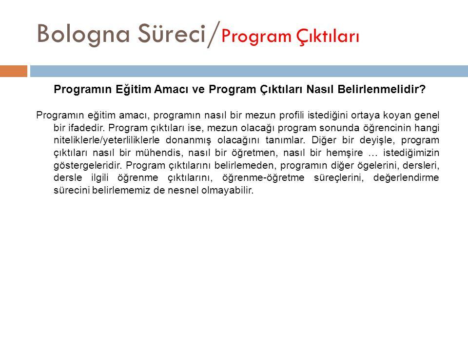 Bologna Süreci/ Program Çıktıları Programın Eğitim Amacı ve Program Çıktıları Nasıl Belirlenmelidir? Programın eğitim amacı, programın nasıl bir mezun
