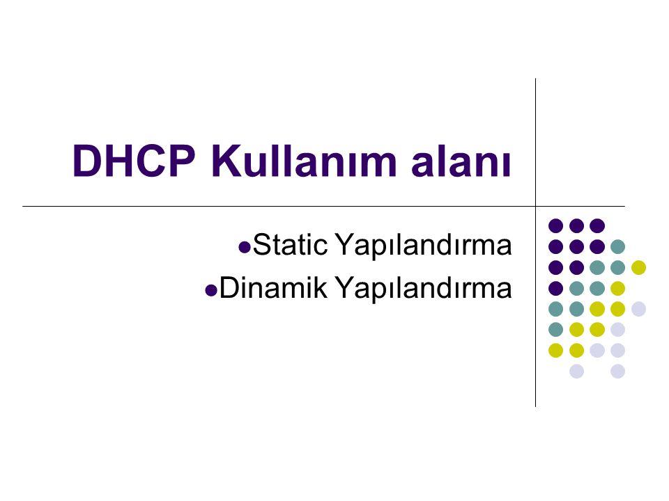 DHCP Kullanım alanı Static Yapılandırma Dinamik Yapılandırma