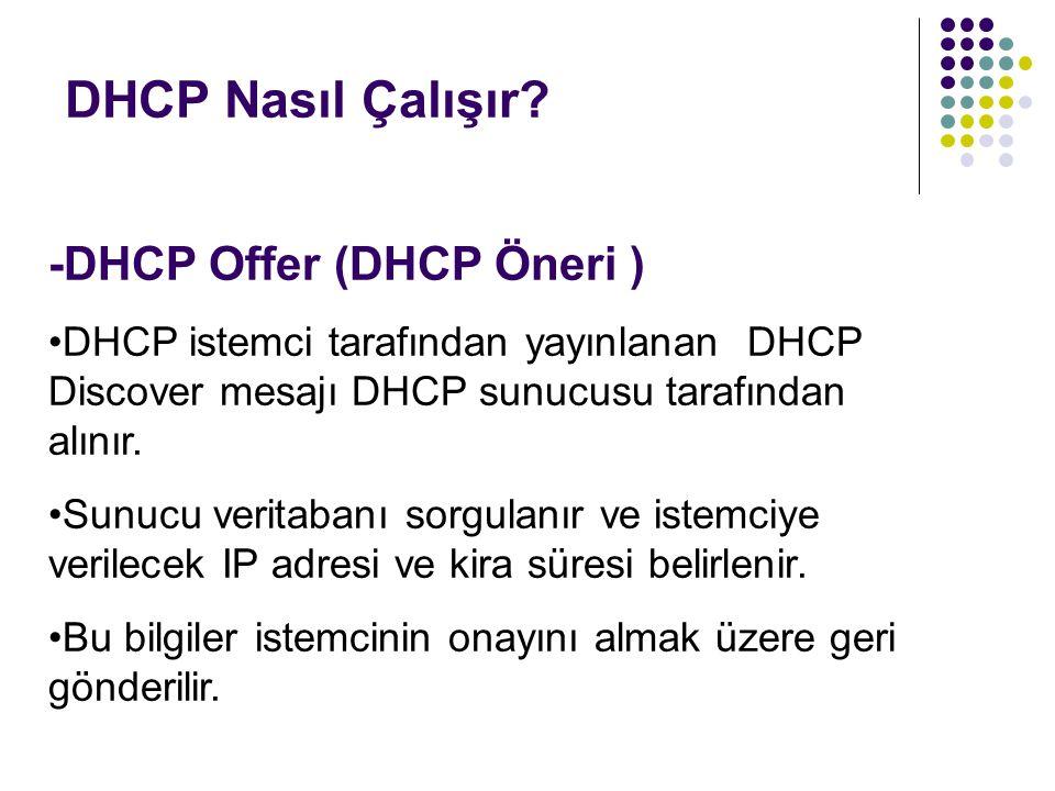 DHCP Nasıl Çalışır? -DHCP Offer (DHCP Öneri ) DHCP istemci tarafından yayınlanan DHCP Discover mesajı DHCP sunucusu tarafından alınır. Sunucu veritaba