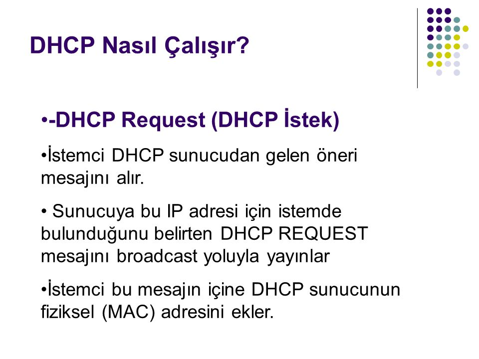 DHCP Nasıl Çalışır? -DHCP Request (DHCP İstek) İstemci DHCP sunucudan gelen öneri mesajını alır. Sunucuya bu IP adresi için istemde bulunduğunu belirt