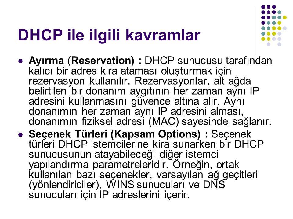 DHCP ile ilgili kavramlar Ayırma (Reservation) : DHCP sunucusu tarafından kalıcı bir adres kira ataması oluşturmak için rezervasyon kullanılır. Rezerv
