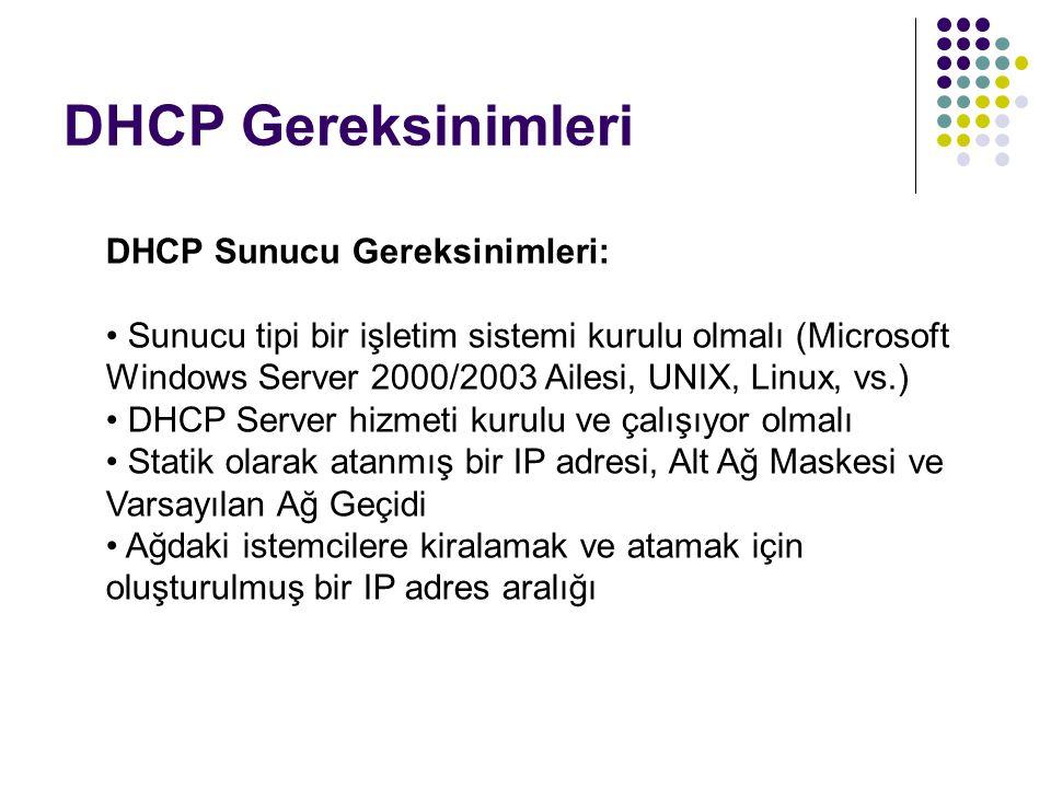 DHCP Gereksinimleri DHCP Sunucu Gereksinimleri: Sunucu tipi bir işletim sistemi kurulu olmalı (Microsoft Windows Server 2000/2003 Ailesi, UNIX, Linux,