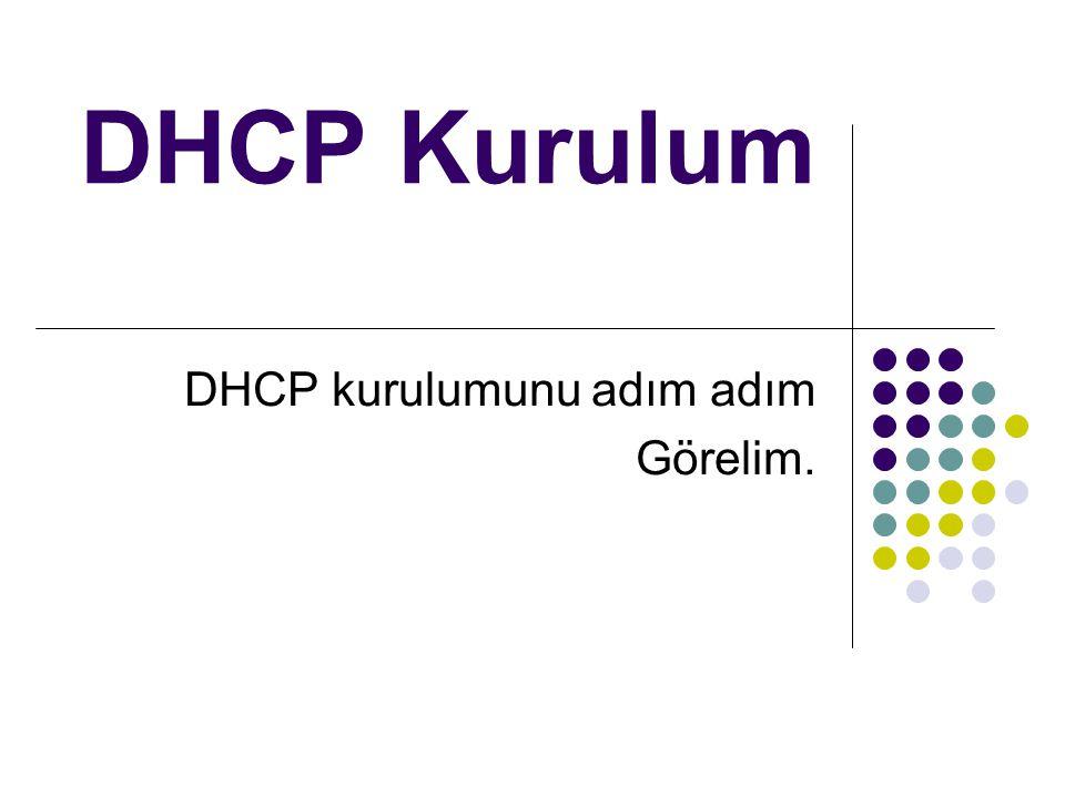 DHCP Kurulum DHCP kurulumunu adım adım Görelim.