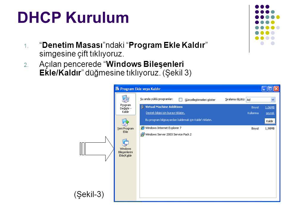 """DHCP Kurulum 1. """"Denetim Masası""""ndaki """"Program Ekle Kaldır"""" simgesine çift tıklıyoruz. 2. Açılan pencerede """"Windows Bileşenleri Ekle/Kaldır"""" düğmesine"""