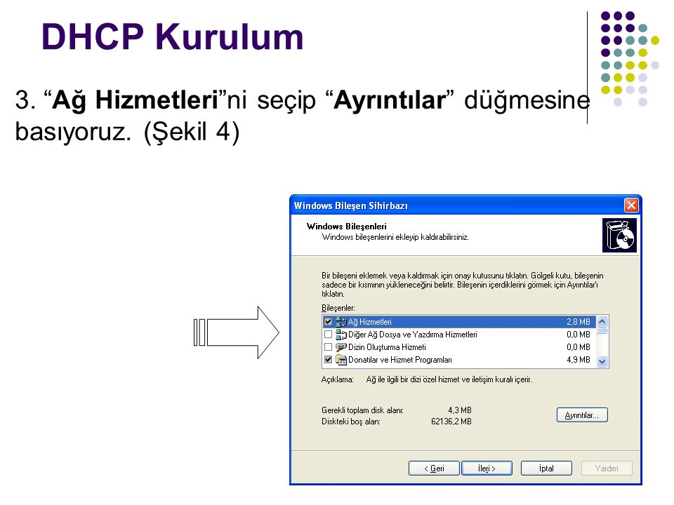 """DHCP Kurulum 3. """"Ağ Hizmetleri""""ni seçip """"Ayrıntılar"""" düğmesine basıyoruz. (Şekil 4)"""