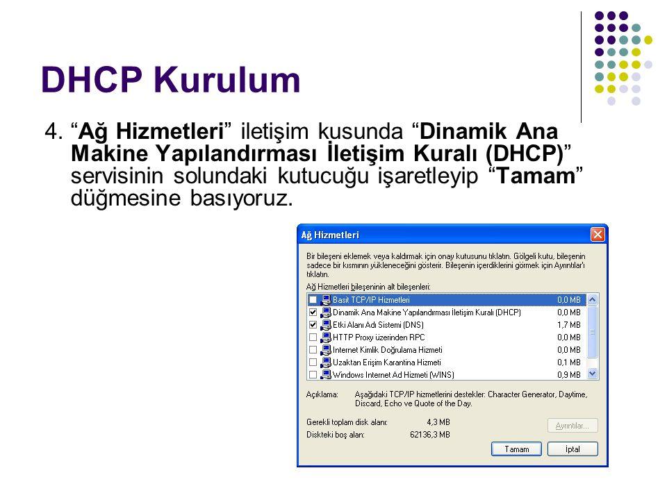"""DHCP Kurulum 4. """"Ağ Hizmetleri"""" iletişim kusunda """"Dinamik Ana Makine Yapılandırması İletişim Kuralı (DHCP)"""" servisinin solundaki kutucuğu işaretleyip"""