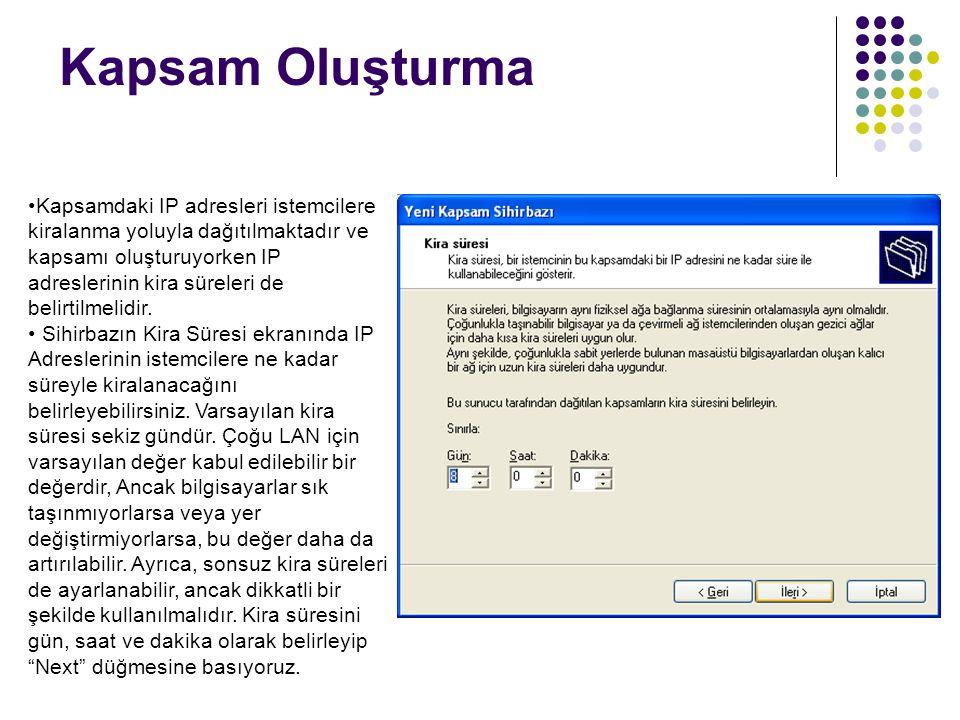 Kapsam Oluşturma Kapsamdaki IP adresleri istemcilere kiralanma yoluyla dağıtılmaktadır ve kapsamı oluşturuyorken IP adreslerinin kira süreleri de beli