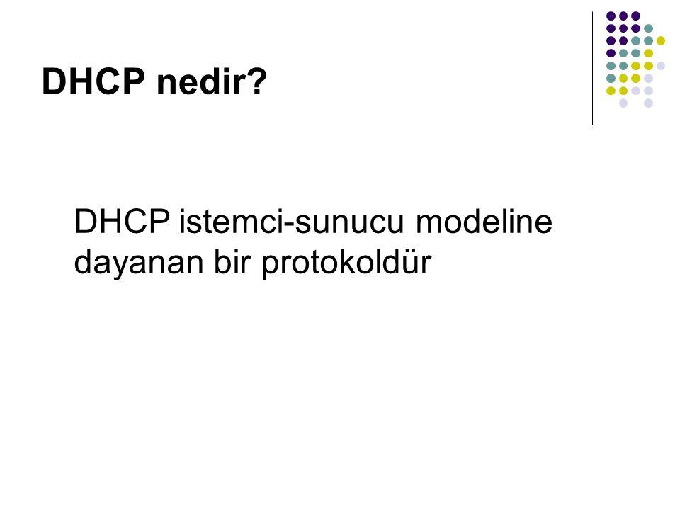 DHCP Gereksinimleri DHCP İstemci Gereksinimleri: Microsoft Windows NT 5.0 tabanlı işletim sistemleri (2000, XP, 2003) Microsoft NT Server 3.51 veya sonrası, Windows NT Workstation 3.51 veya sonrası bir işletim sistemi Microsoft Windows for Workgroups v3.11 (TCP/IP-32 yüklü olmalı) Microsoft MS-DOS (MS-DOS Microsoft Network Client v3.0 yüklü olmalı ve real-mode TCP/IP sürücüsü bulunmalı) Microsoft LAN Manager v2.2c (OS/2 işletim sistemi için LAN Manager 2.2c desteklenmez) Bunların dışında çoğu Microsoft harici işletim sistemi DHCP sunucudan IP alabilir.