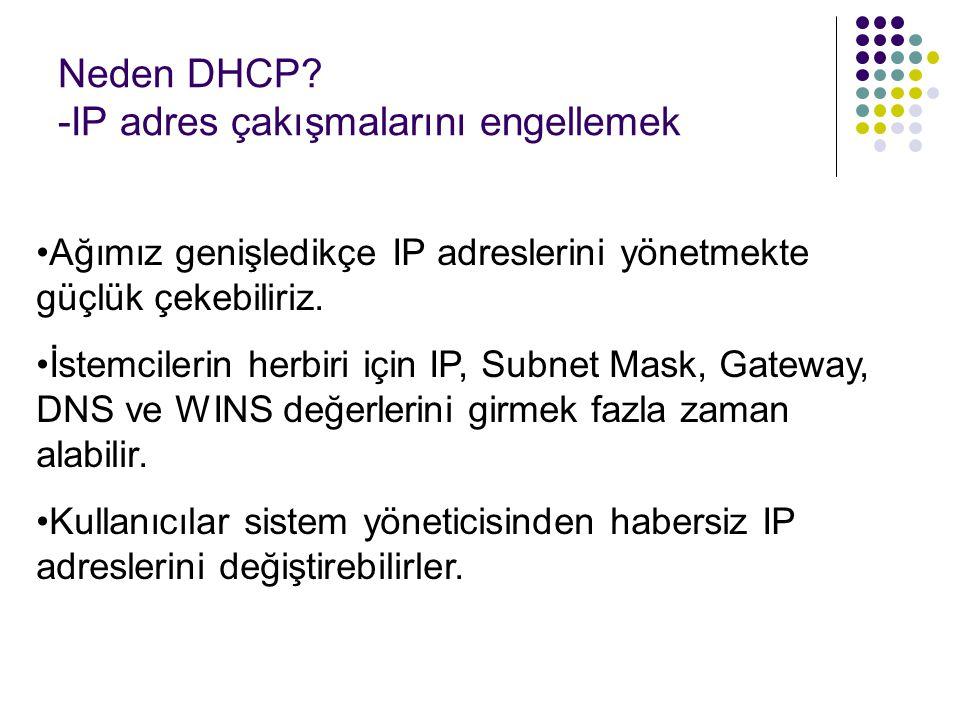 Neden DHCP? -IP adres çakışmalarını engellemek Ağımız genişledikçe IP adreslerini yönetmekte güçlük çekebiliriz. İstemcilerin herbiri için IP, Subnet