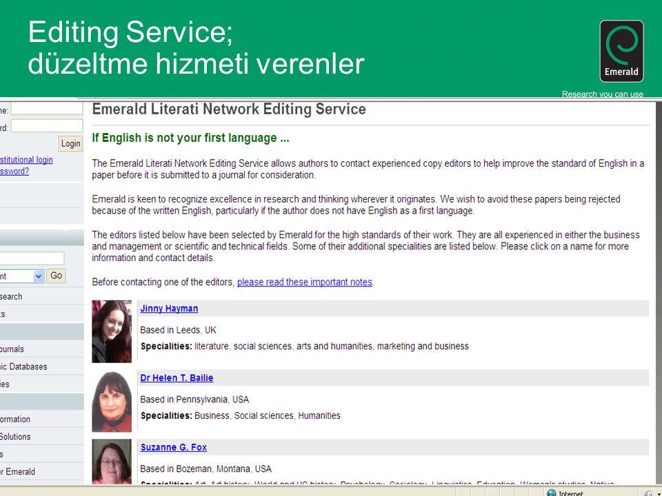 Editing Service; düzeltme hizmeti verenler.