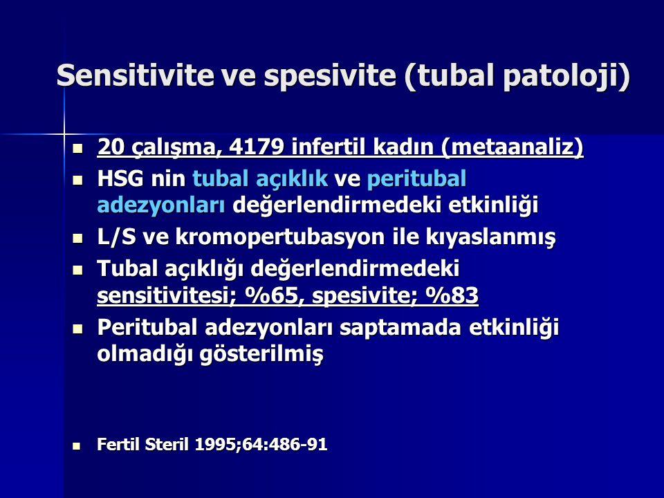 Sensitivite ve spesivite (tubal patoloji) 20 çalışma, 4179 infertil kadın (metaanaliz) 20 çalışma, 4179 infertil kadın (metaanaliz) HSG nin tubal açık