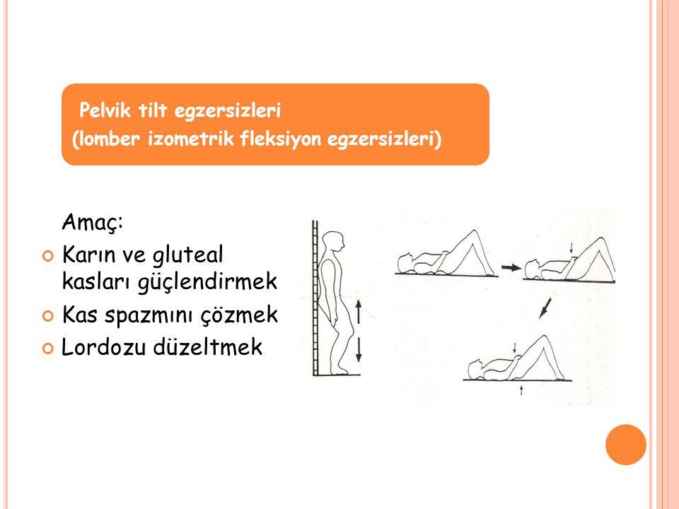 Amaç: Karın ve gluteal kasları güçlendirmek Kas spazmını çözmek Lordozu düzeltmek Pelvik tilt egzersizleri (lomber izometrik fleksiyon egzersizleri)