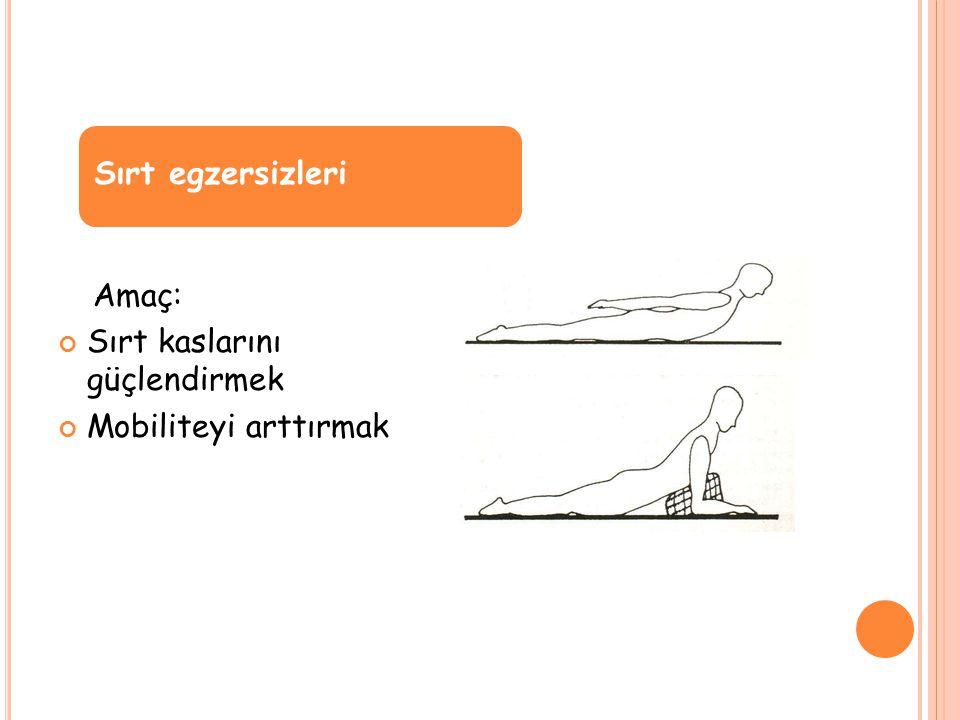 Amaç: Sırt kaslarını güçlendirmek Mobiliteyi arttırmak Sırt egzersizleri