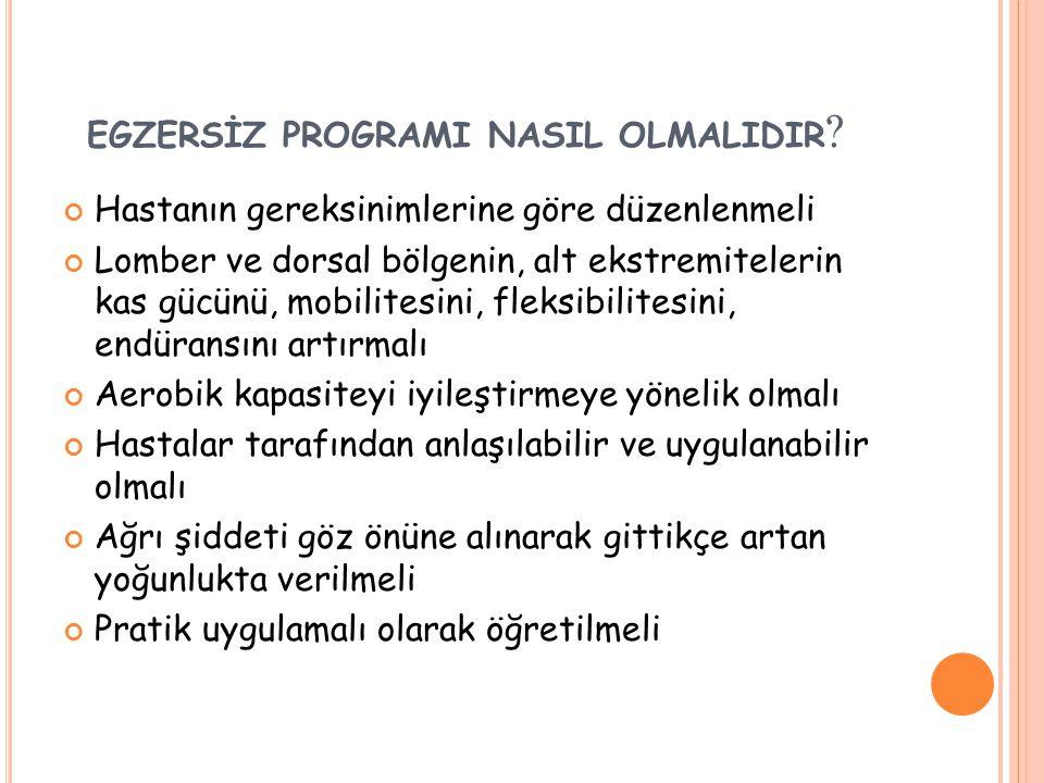 EGZERSİZ PROGRAMI NASIL OLMALIDIR .