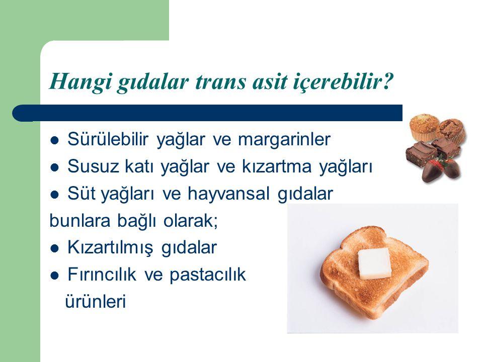 Hangi gıdalar trans asit içerebilir? Sürülebilir yağlar ve margarinler Susuz katı yağlar ve kızartma yağları Süt yağları ve hayvansal gıdalar bunlara