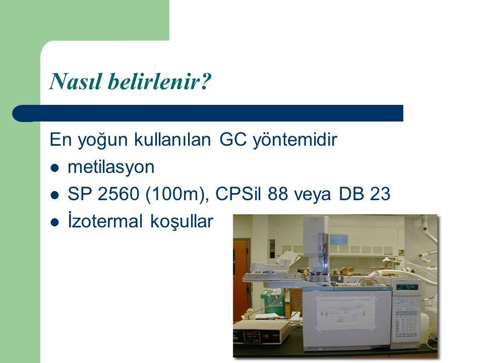 Nasıl belirlenir? En yoğun kullanılan GC yöntemidir metilasyon SP 2560 (100m), CPSil 88 veya DB 23 İzotermal koşullar