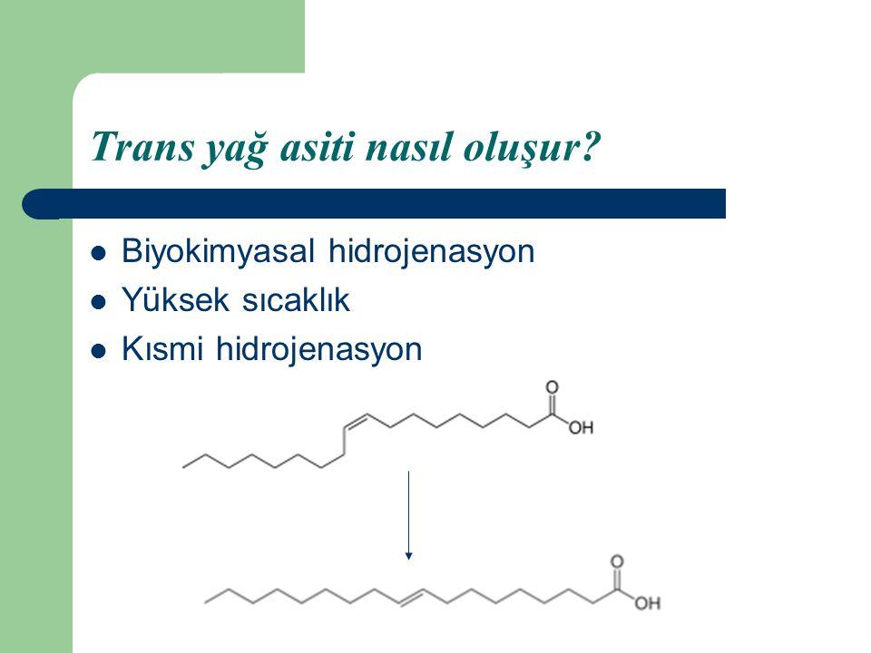 Trans yağ asiti nasıl oluşur? Biyokimyasal hidrojenasyon Yüksek sıcaklık Kısmi hidrojenasyon