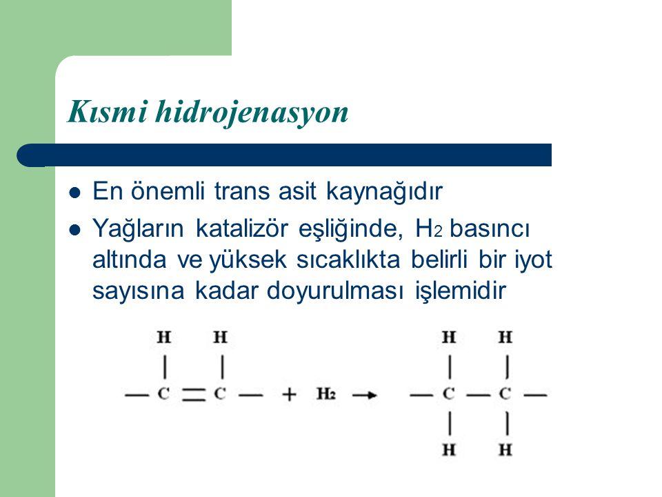 Kısmi hidrojenasyon En önemli trans asit kaynağıdır Yağların katalizör eşliğinde, H 2 basıncı altında ve yüksek sıcaklıkta belirli bir iyot sayısına k