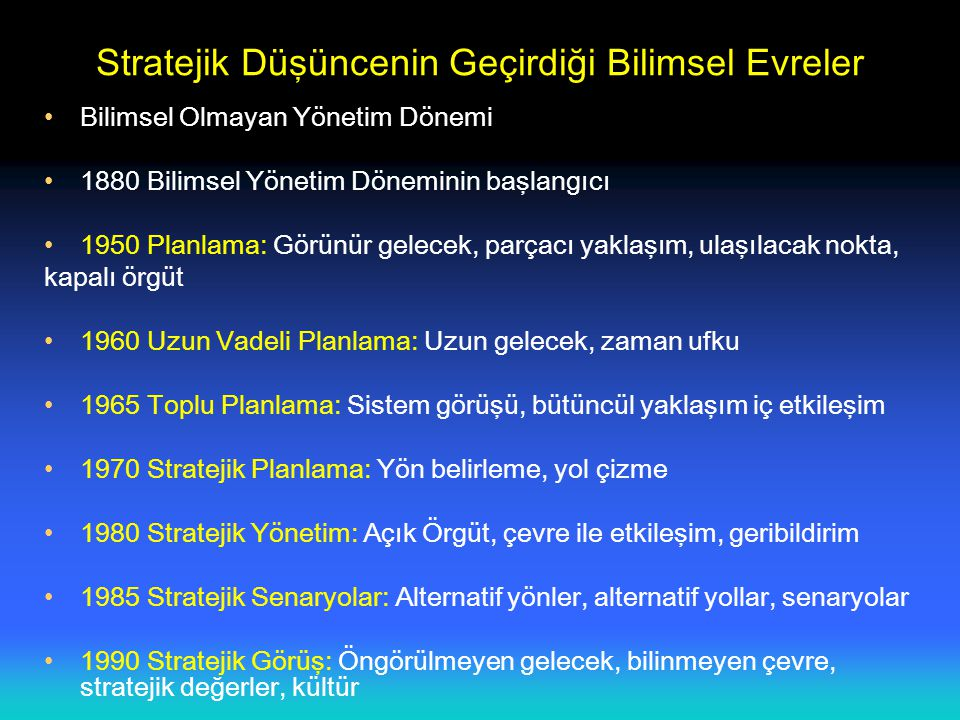 ORGANİZASYON YÖNETİMİNDE ÜST YÖNETİMİN ROLÜ,TASARIMI VE ETKİNLİĞİ Üst Yönetim Dış Ortam Fırsatlar Tehditler Belirsizlik Kaynakların Kullanımı İç Ortam Güçlü Yanlar Zayıf Yanlar Ayırtedici Yetkinlik Liderlik Tarzı Geçmiş Performans Stratejik Yönetim Organizasyon Tasarımı Etkililik Çıktıları Vizyon Misyon Amaçlar Hedefler Rekabetçi Stratejiler Kaynaklar Verimlilik Amaç Başarımı Paydaşlar Rekabetçi Değerler Yapısal Biçim Bilgi-Denetim Sistemi Üretim Teknolojisi İnsan Kaynakları Politikaları Organizasyon Kültürü Organizasyonlar Arası Bağlar