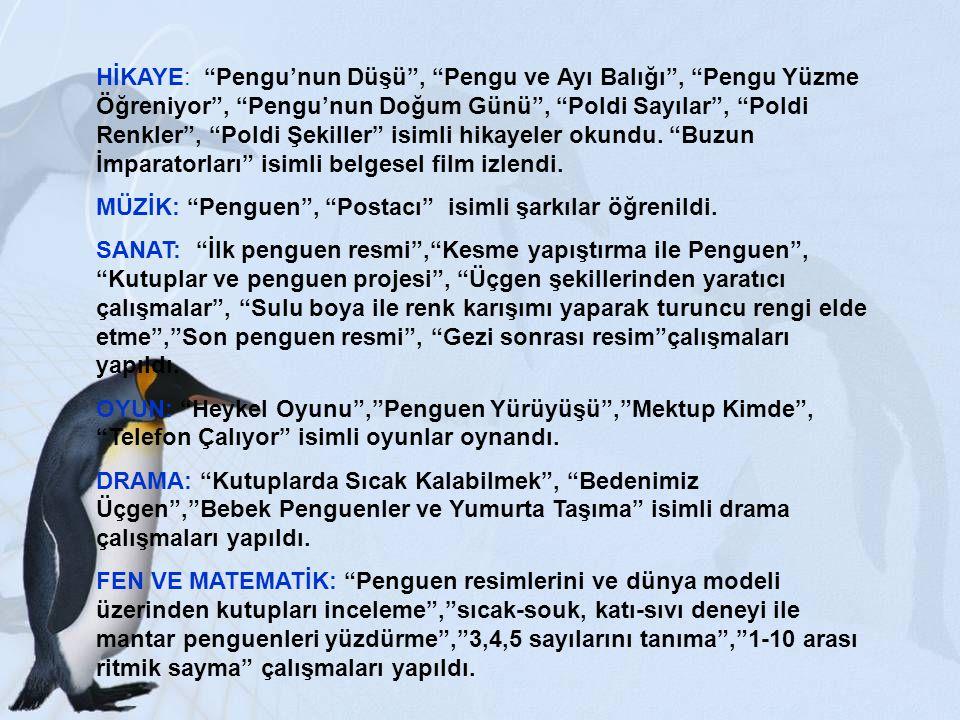 """HİKAYE: """"Pengu'nun Düşü"""", """"Pengu ve Ayı Balığı"""", """"Pengu Yüzme Öğreniyor"""", """"Pengu'nun Doğum Günü"""", """"Poldi Sayılar"""", """"Poldi Renkler"""", """"Poldi Şekiller"""" i"""